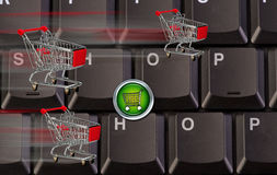 Computer Keys Shopping Carts Royalty Free Stock Photo