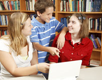 Computer Kids in Library Royalty Free Stock Photos