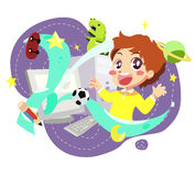 Computer kids - vector Royalty Free Stock Photo