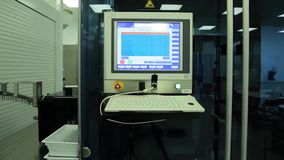 Computer in laboratory or manufactory. Biochemical analyzer and computer in laboratory of wine industry. Analyzing data. Scientist in the laboratory with a stock video footage