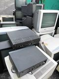 Computer landfill. Computer parts and monitors for electronic recycling Stock Images