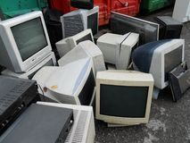 Computer landfill. Computer parts and monitors for electronic recycling Royalty Free Stock Image