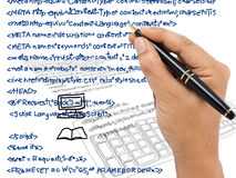 Computer language. Hand writing computer source code Stock Photo