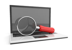 Computer laptop 3D. Searching the interne. Royalty Free Stock Images