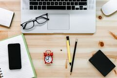Free Computer Laptop And Digital Devices On Table Workspace, Top View Of Creative Working Home Office Desktop With Laptop Device. Royalty Free Stock Photos - 217847218