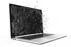 Computer or laptop with broken screen isolated on white background for your design project, 3D Rendering Royalty Free Stock Photos