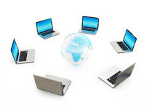 Computer Laptop Connected Earth on White Background Stock Photos