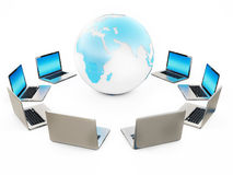 Computer Laptop Connected Earth on White Background Royalty Free Stock Image