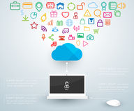 Computer laptop connections cloud computing. Royalty Free Stock Images