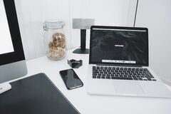 Computer laptop on desk Royalty Free Stock Images