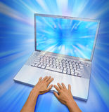 Computer Laptop Hands Fingers Stock Photo