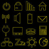 Computer and laptop indication outline icons eps10. Computer and laptop indication outline icons Royalty Free Stock Photos