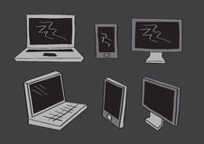Computer Laptop and Mobil Phone Icons in Vector Cartoon Style Stock Photo