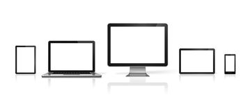 Computer, laptop, mobile phone and digital tablet pc vector illustration