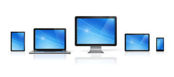 Computer, laptop, mobile phone and digital tablet pc Stock Photos