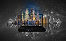 Computer laptop with modern building technology stock illustration