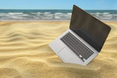 Computer laptop in the sand of the sea or ocean beach. Freelance. Or expatriation concept. 3d illustration vector illustration