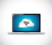 Computer laptop security cloud connection Royalty Free Stock Photo