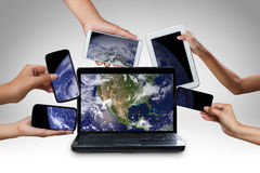 Computer laptop smart phone tablet and touch pad Royalty Free Stock Photography