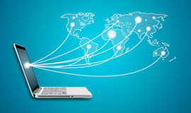 Computer Laptop with social network world map Social networking Royalty Free Stock Photography
