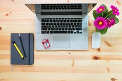 Computer laptop and stationary layout workspace on table, Top vi Stock Photos