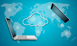 Computer laptop and tablet with cloud network concept. On blue background Stock Photography