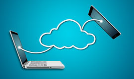 Computer laptop and tablet with cloud network concept Stock Image