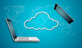 Computer laptop and tablet with cloud network concept Stock Images