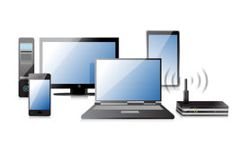 Computer, Laptop Tablet and Phone, router stock illustration