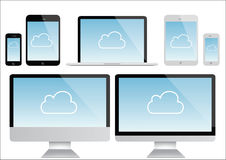 Computer, laptop, tablet ,smartphone illustration -isolated, cloud symbol Royalty Free Stock Photos