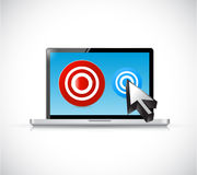 Computer laptop and targets illustration. Design over a white background vector illustration