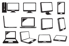 Computer and Laptop Vector Icons Royalty Free Stock Image