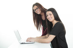Computer. Laptop.Woman.Girl. Businesswoman.Girl Royalty Free Stock Image