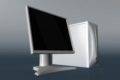 Computer with LCD monitor 01. Rendered white computer with LCD monitor royalty free illustration