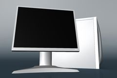 Computer with LCD monitor 02. Rendered white computer with LCD monitor royalty free illustration