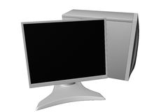 Computer with LCD monitor 03. Rendered white computer with LCD monitor royalty free illustration