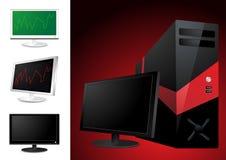 Computer and lcd monitor Royalty Free Stock Image