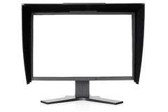 Computer LCD monitor. Professional monitor for color correction isolated on white, outline and blank screen clipping path included Royalty Free Stock Photography