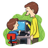 Computer Learning. A boy learning how to operating computer Stock Photography