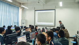 Computer learning lessons. Teachers are teaching students computer courses Stock Photography