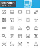 Computer line icons set, outline vector symbol collection, linear style pictogram pack. Signs, logo illustration. Set includes icons as desktop computer Royalty Free Stock Images