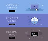 Computer Literacy. Computer Science. Programming. Vector banners Stock Photography