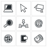 Computer literacy icons set. Vector Illustration. Stock Photos