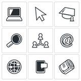 Computer literacy icons set. Vector Illustration. Stock Photos