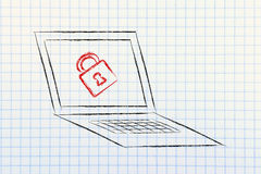 Computer with lock: internet security and confidential informati. Computer screen with a lock: privacy and personal information on the web Royalty Free Stock Photos