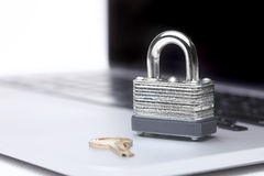 Computer With Lock and Key Royalty Free Stock Photo