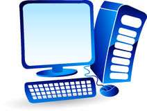 Computer logo. Illustration art of a computer logo with isolated background Royalty Free Stock Images