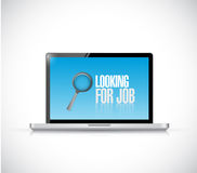 Computer looking for a job sign illustration Stock Photo