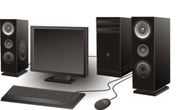 Computer with loudspeakers, mouse, keyboard,  system unit Stock Photos