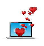 Computer love connection. internet communication Stock Photography